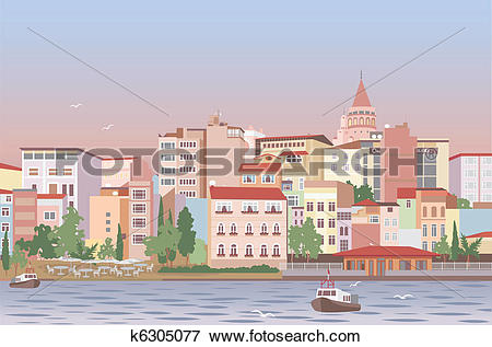 Clip Art of Town in morning k6305077.