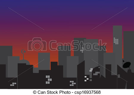 Clip Art Vector of Town Silhouette at morning.