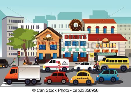 Busy town clipart.