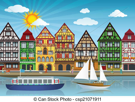 Vector Clip Art of Old town and river.