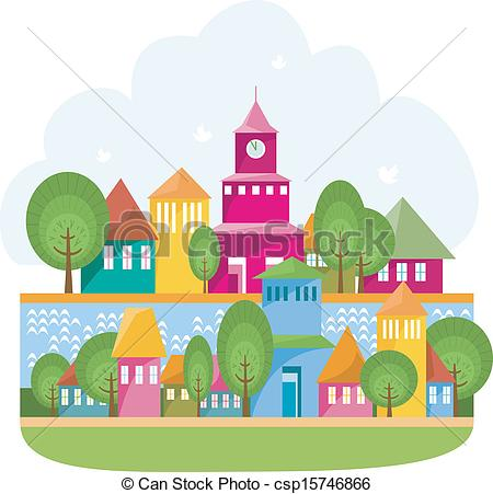 Clip Art Vector of Small Town On The River.