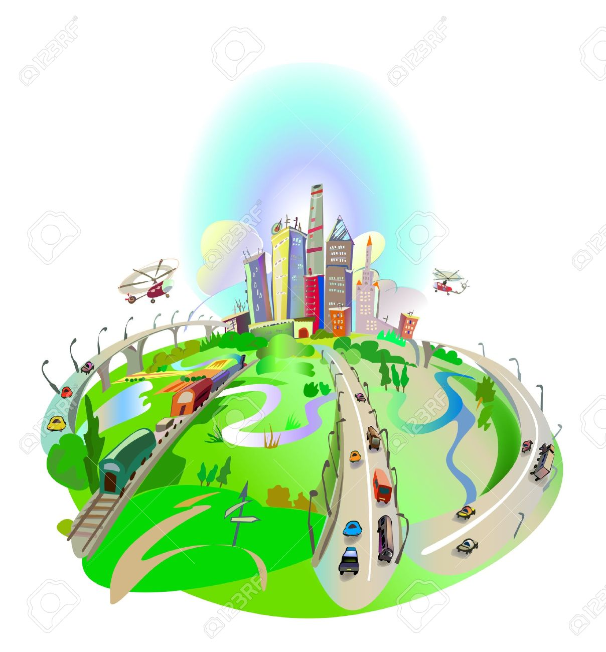 Roads Led To The City Royalty Free Cliparts, Vectors, And Stock.