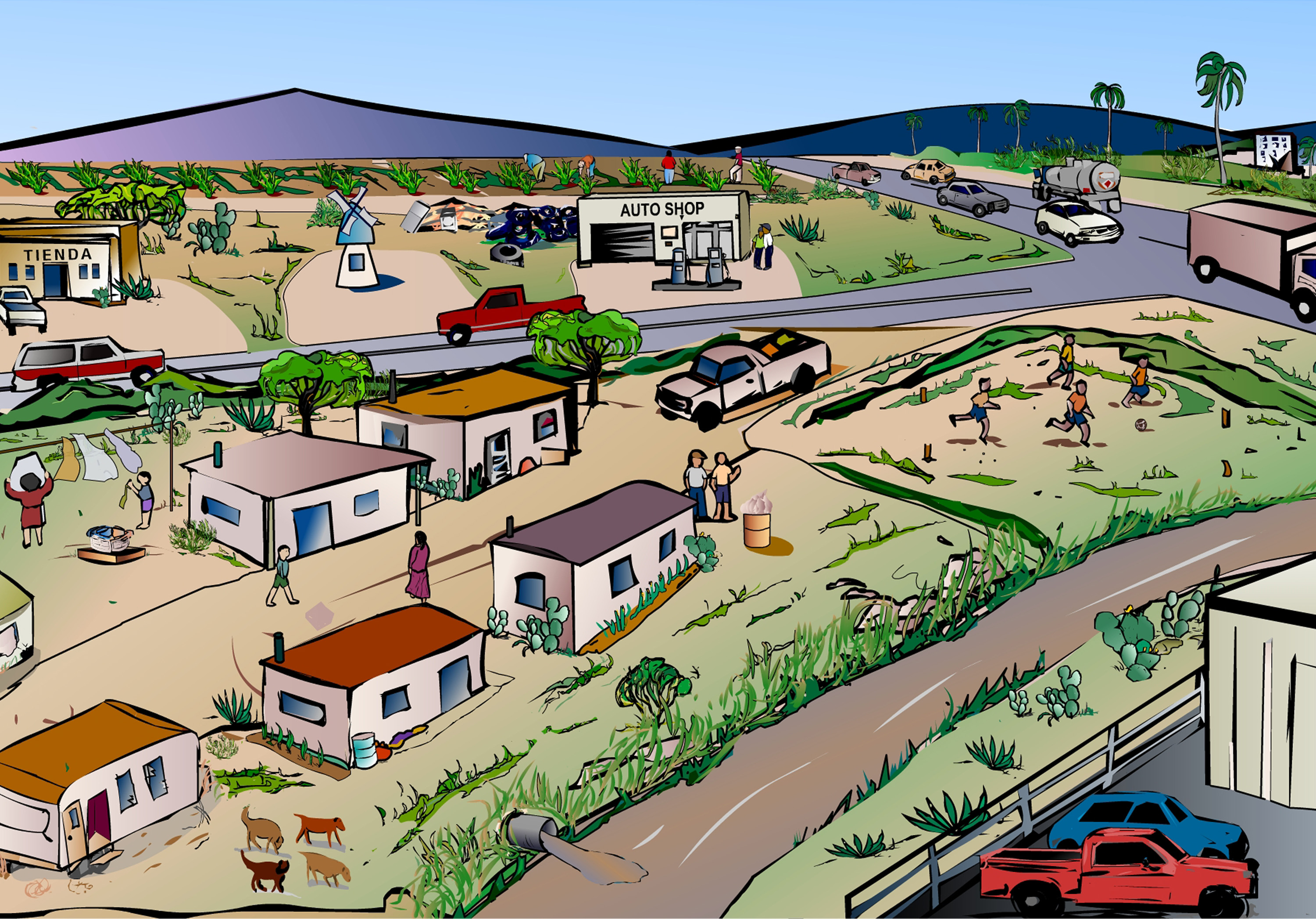 Farm Scene With River Clipart.