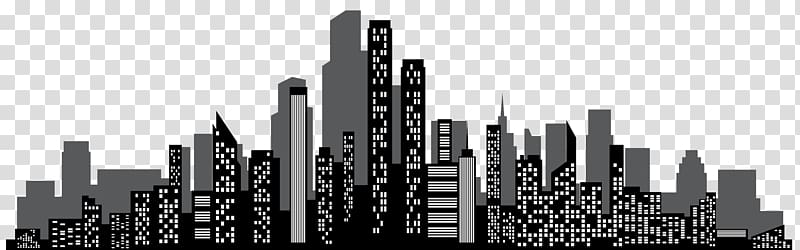 Town cityscape illustration, Brand Skyscraper Skyline Black.