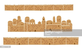 Middle East Town, Wall, stock vectors.