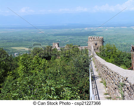 Stock Image of Sighnaghi Town Wall.