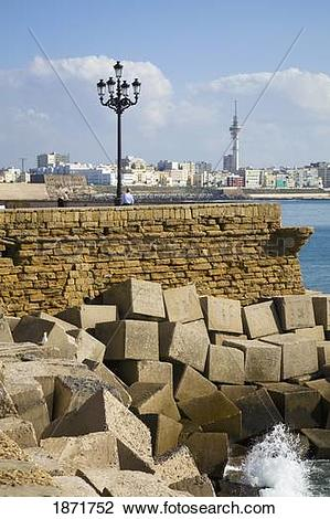 Stock Photo of cadiz, andalusia, spain; the old town wall along.