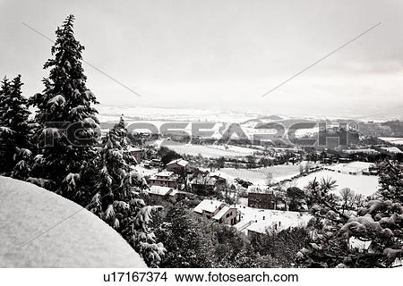 Stock Photo of View over town wall of snow.