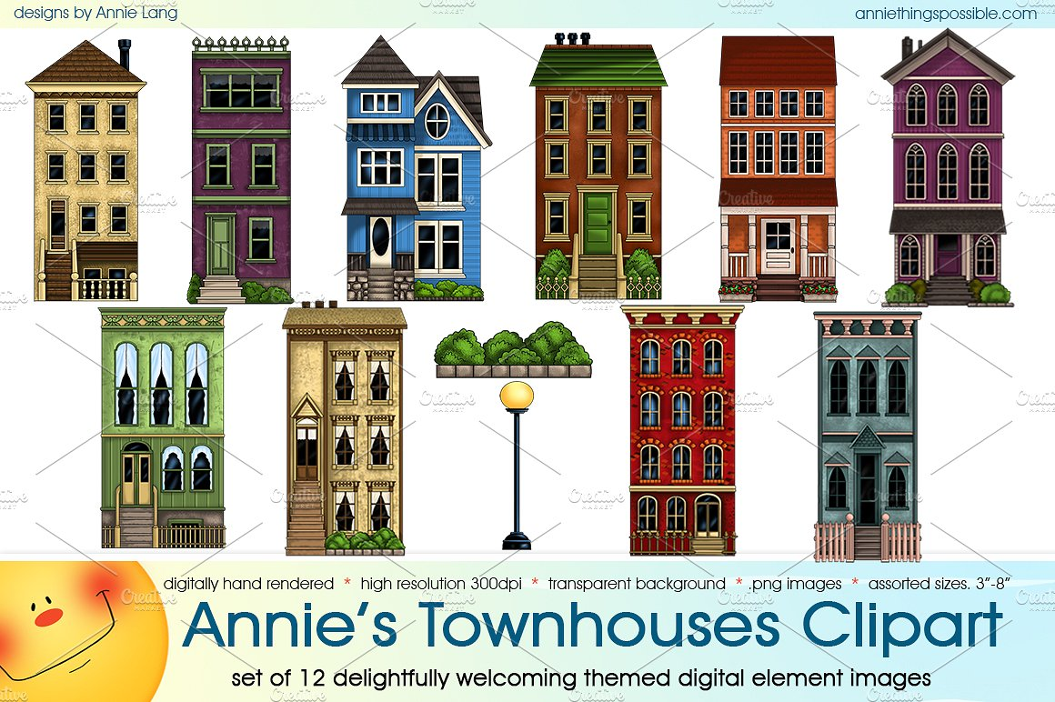 Annie's Townhouses Clipart ~ Illustrations on Creative Market.