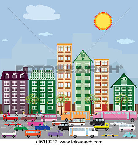 Clipart of Townhouses in the city. k16919212.