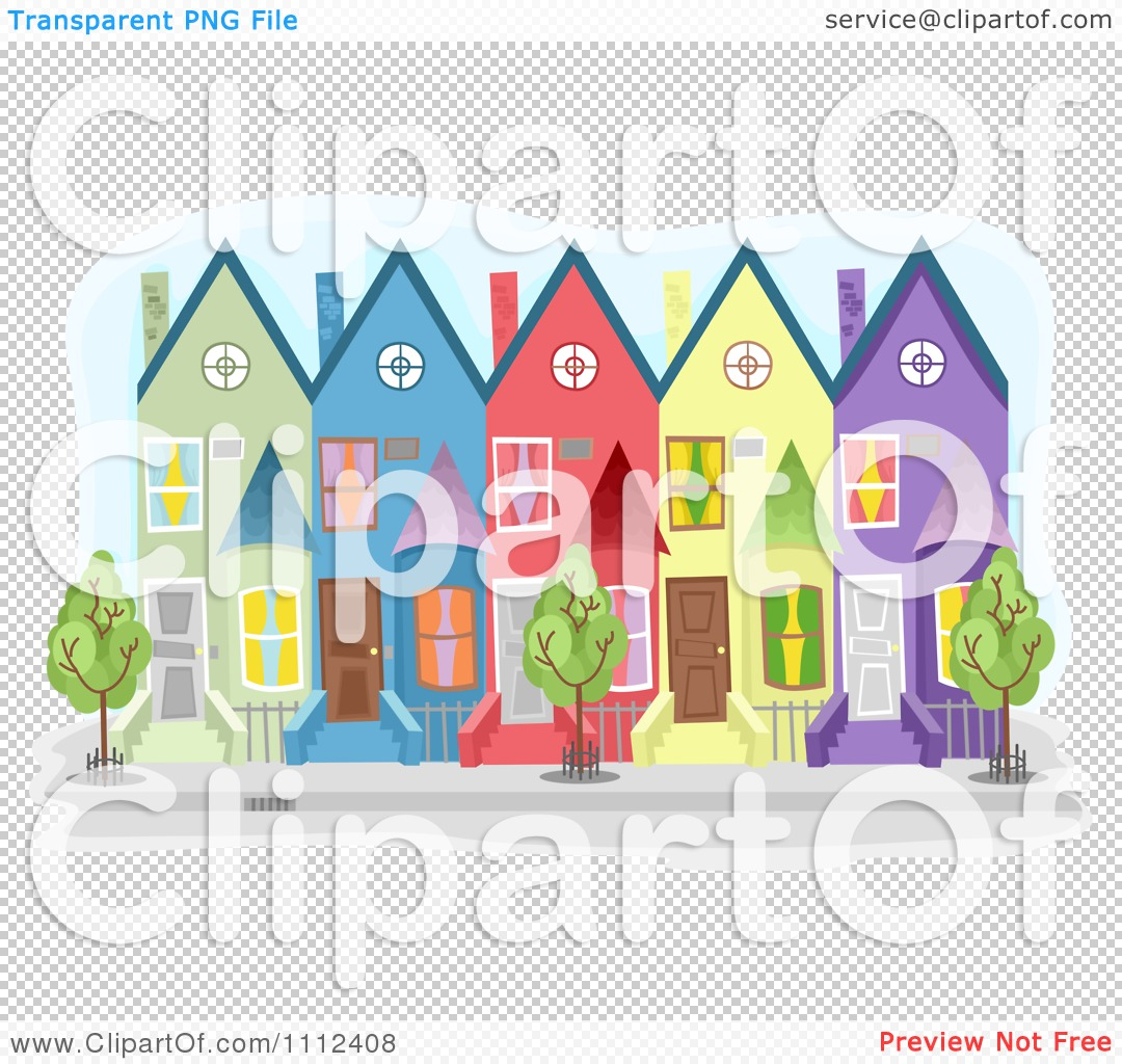 Clipart Colorful Townhouse Buildings.