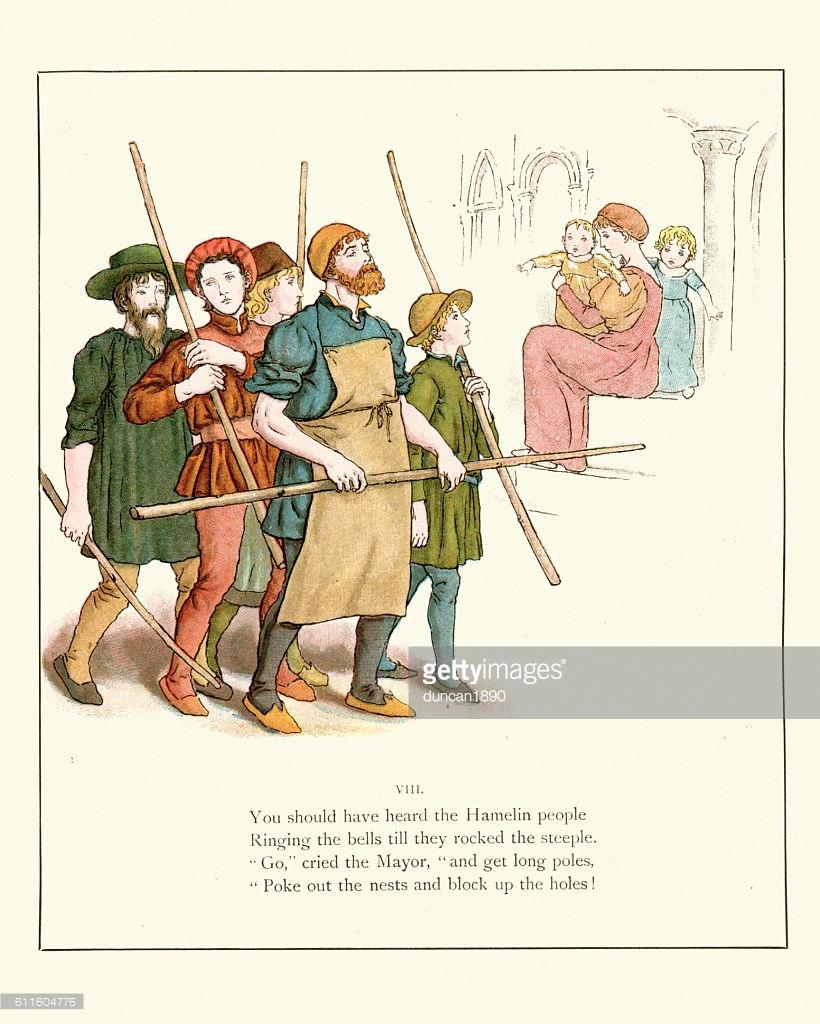 Pied Piper Of Hamelin Townsfolk Stock Illustration.