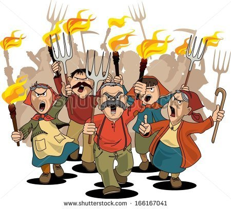 Group Of Angry Towns People Clipart.