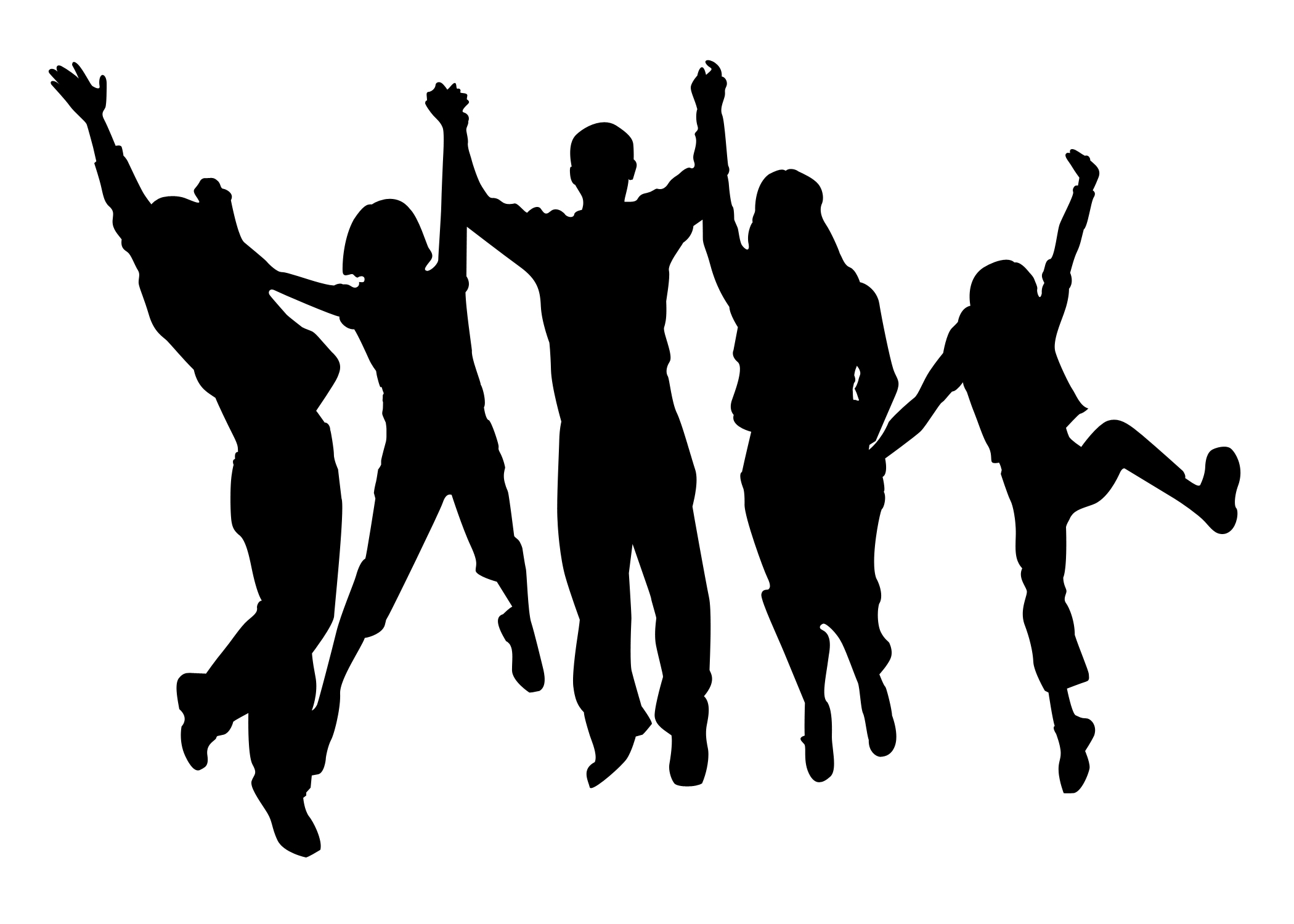 Group of happy towns people clipart.