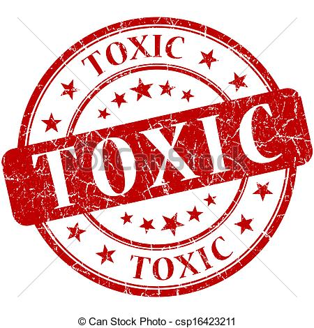 Clipart of toxic grunge round red stamp csp16423211.
