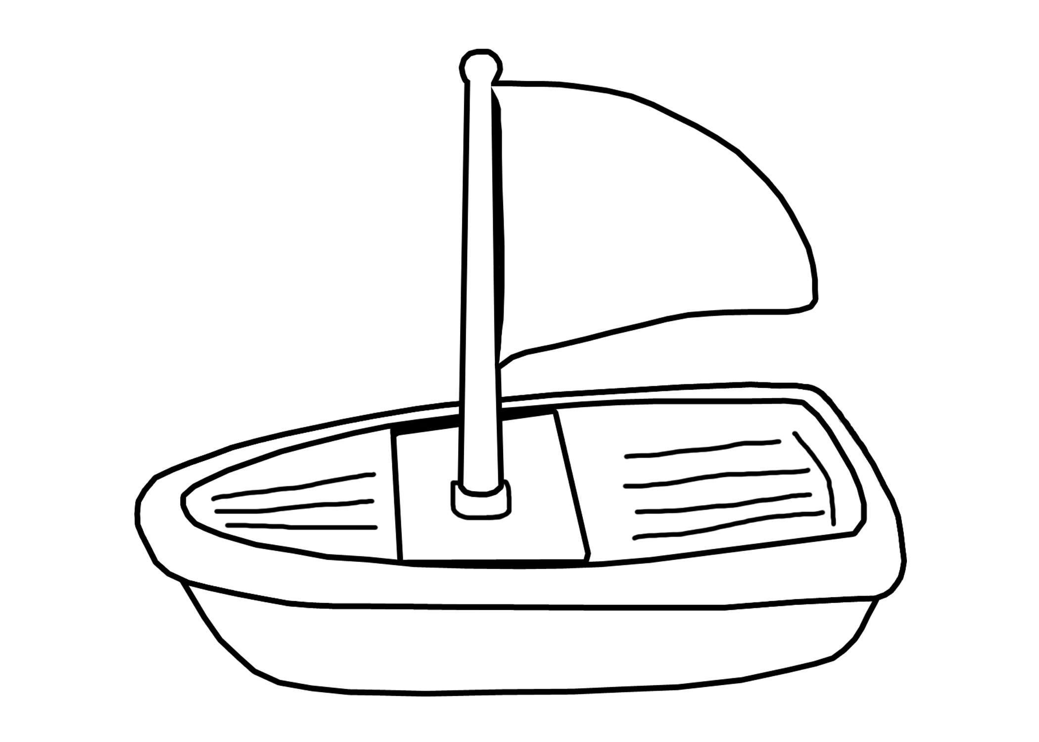 Toy boat clipart black and white.