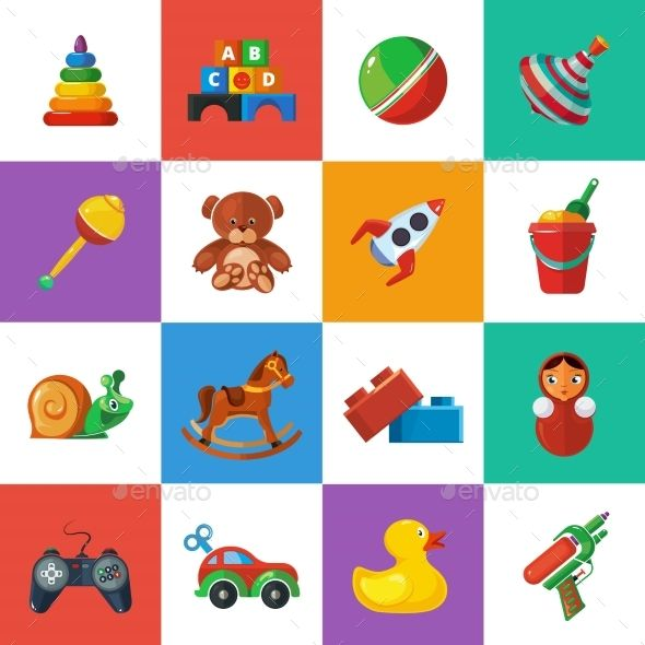 Toys icons for kids isolate on white background. Toys vector.