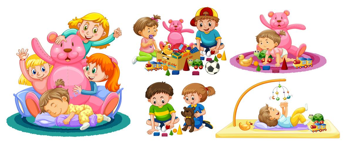 Kids Playing with Toys on White Background.
