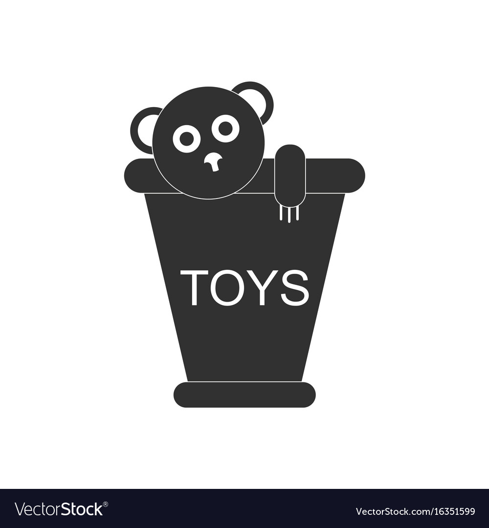 Black icon on white background teddy bear in.