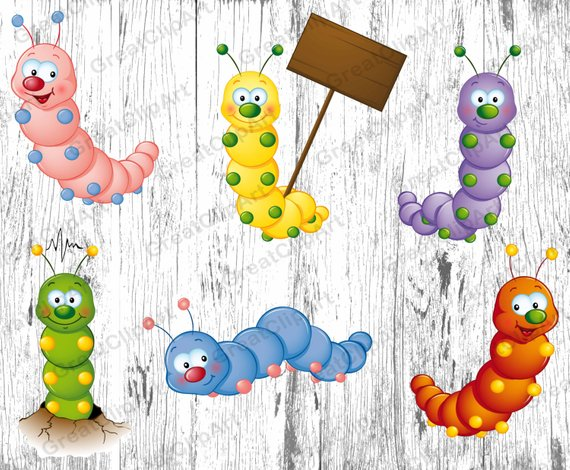 6 Insects Kids Animals clipart, worm clipart, caterpillar.