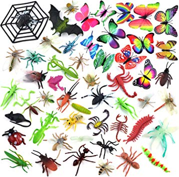 Coopay 51 Pieces Plastic Bugs Toy Figures for Kids Boys, Fake Bugs, Fake  Spiders, Cockroaches, Scorpions, Crickets, Butterflies and Worms for.