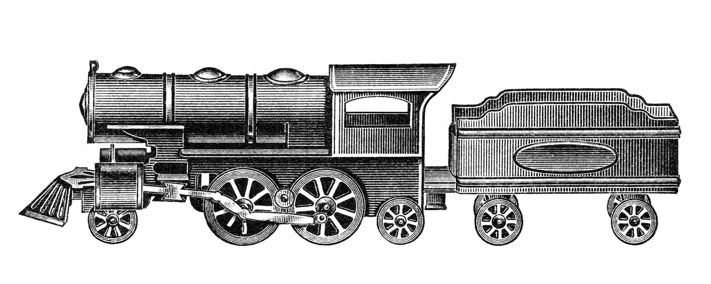 Train Engine Black And White Clipart.