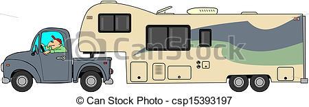 Stock Illustration of Toyhauler trailer.