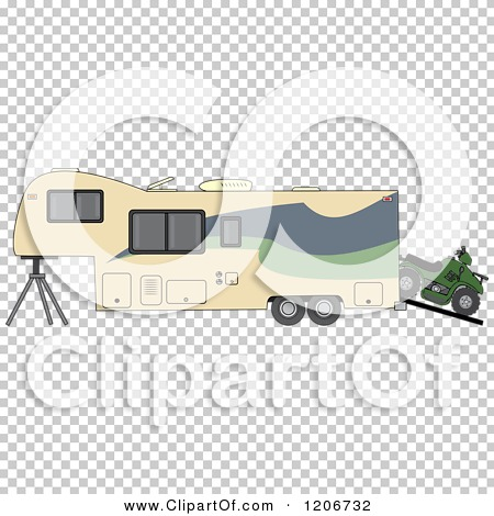 Cartoon of a Toy Hauler Trailer and ATV.