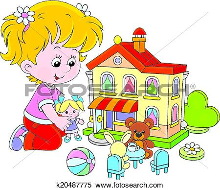 Clipart of Girl with a doll and toy house k20487775.