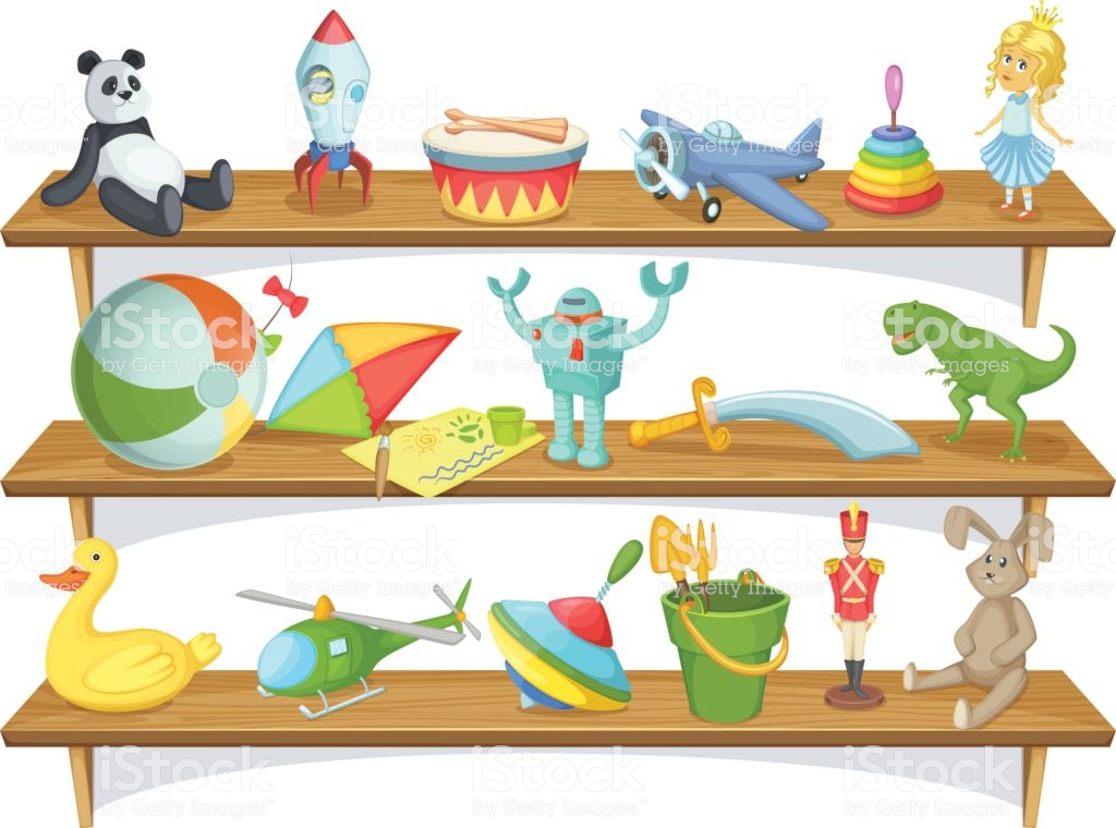 Royalty Free Toy Shelf Clip Art, Vector Images, Toy Store.