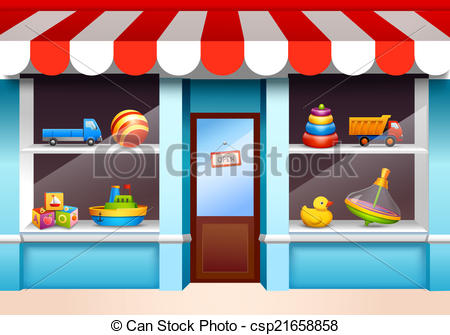 Clipart Vector of Toys shop window.