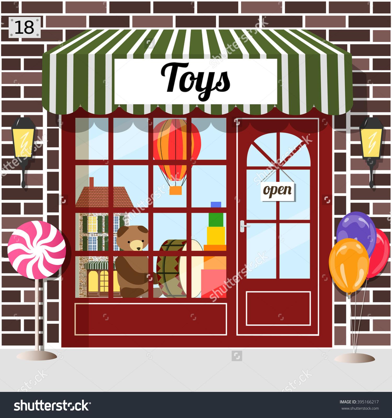 Toy Shop Toy Store Building Facade Stock Vector 395166217.