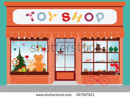 Toy Shop Window Stock Images, Royalty.