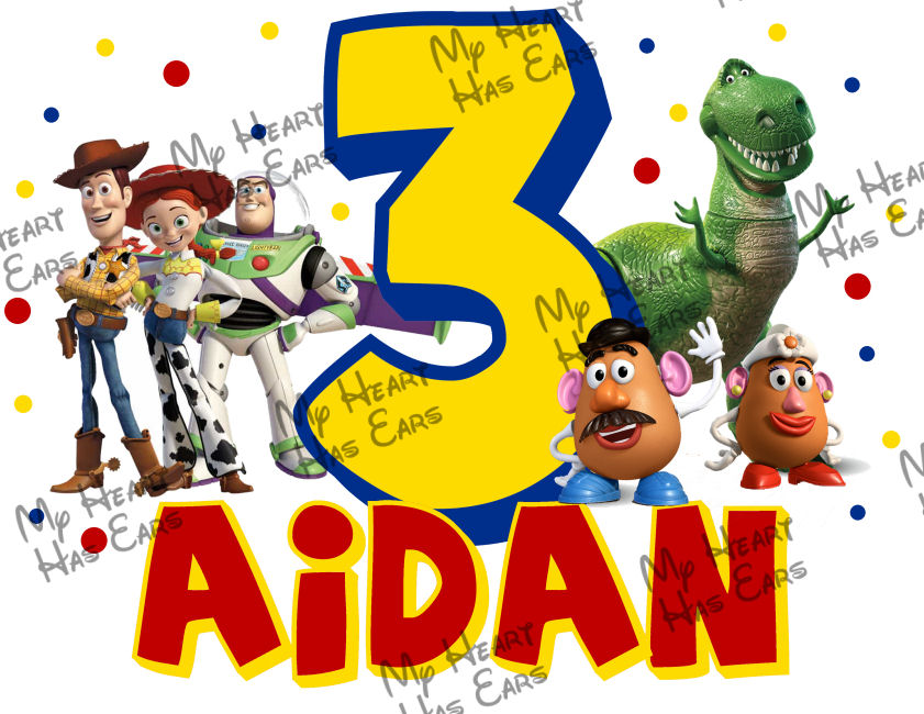 Toy Story birthday PERSONALIZED digital iron on clip art DIY.