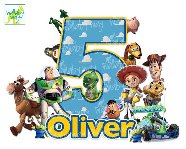 Toy Story Birthday Printable Iron On Transfer or Use as Clip.