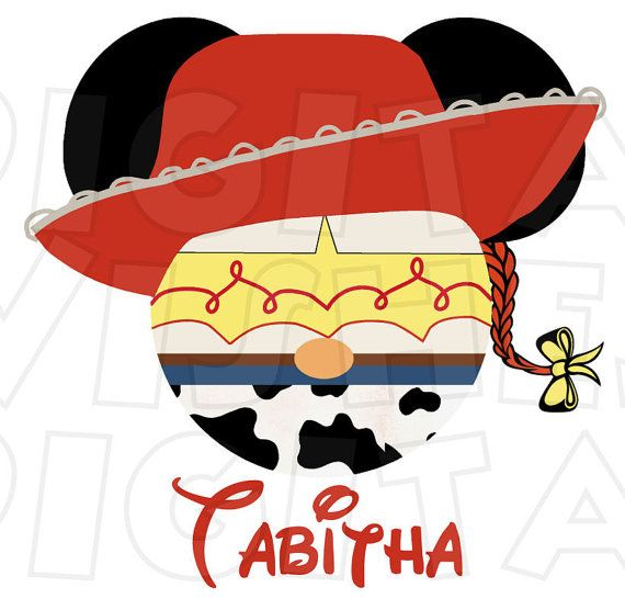Jessie Cowgirl Toy Story Mickey Mouse head ears Digital Iron.