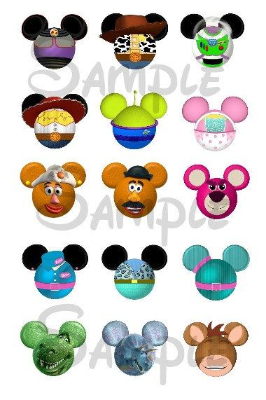 Toy Story character inspired Mickey head DIGITAL Bottle Cap.