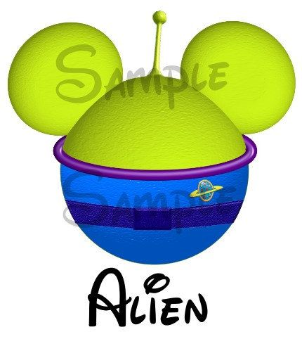 Little green Alien from Toy Story inspired Mickey Head.