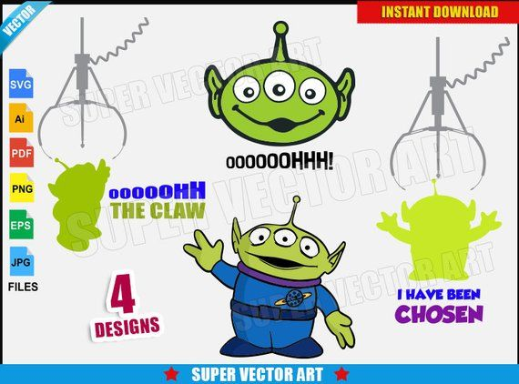 Alien Toy Story Vector Clipart (SVG png) Silhouette The Claw.