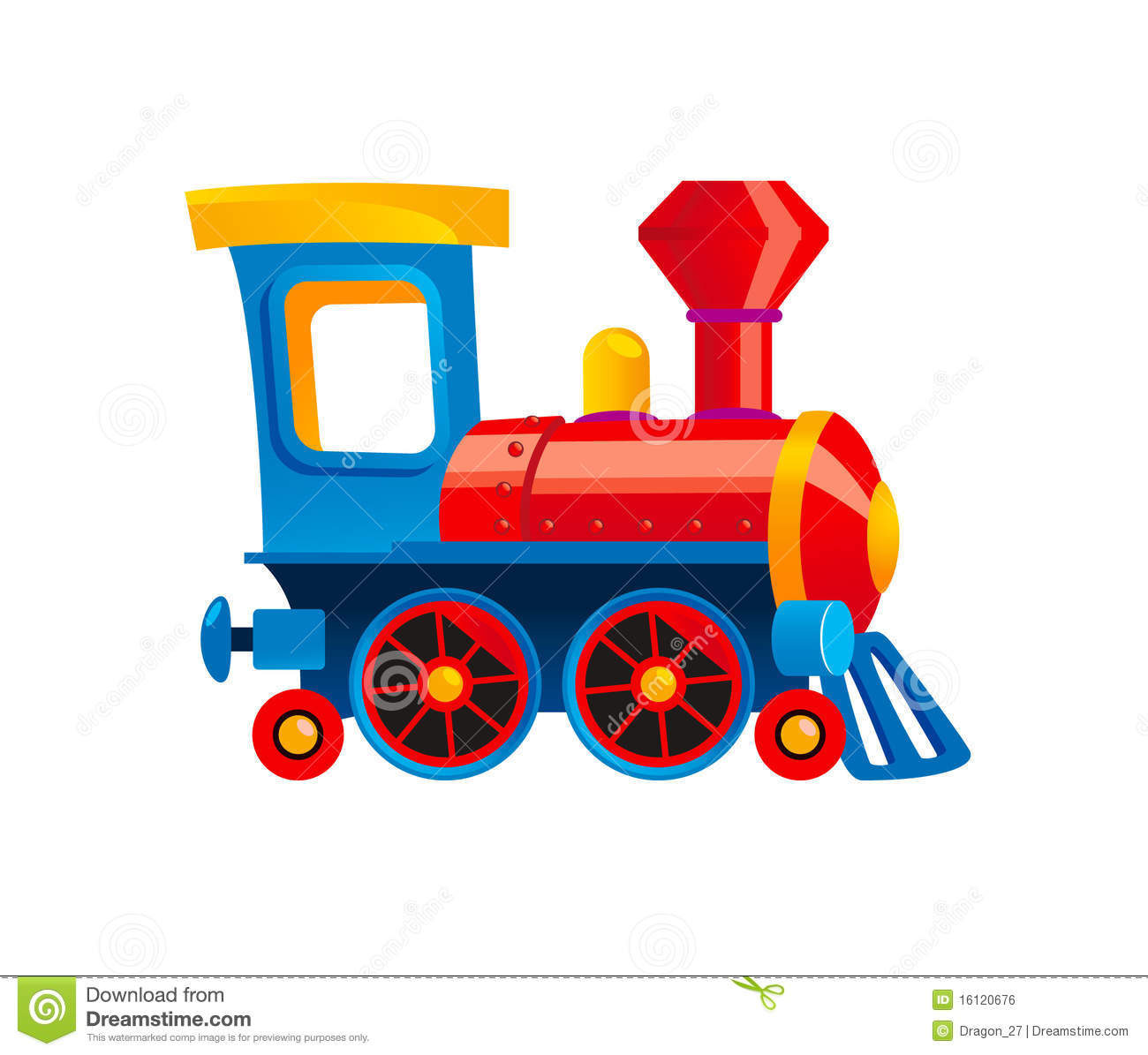 Blue Toy Train Clipart.