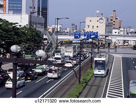 Stock Photography of Tram, Toyohashi, Aichi, Japan u12171320.