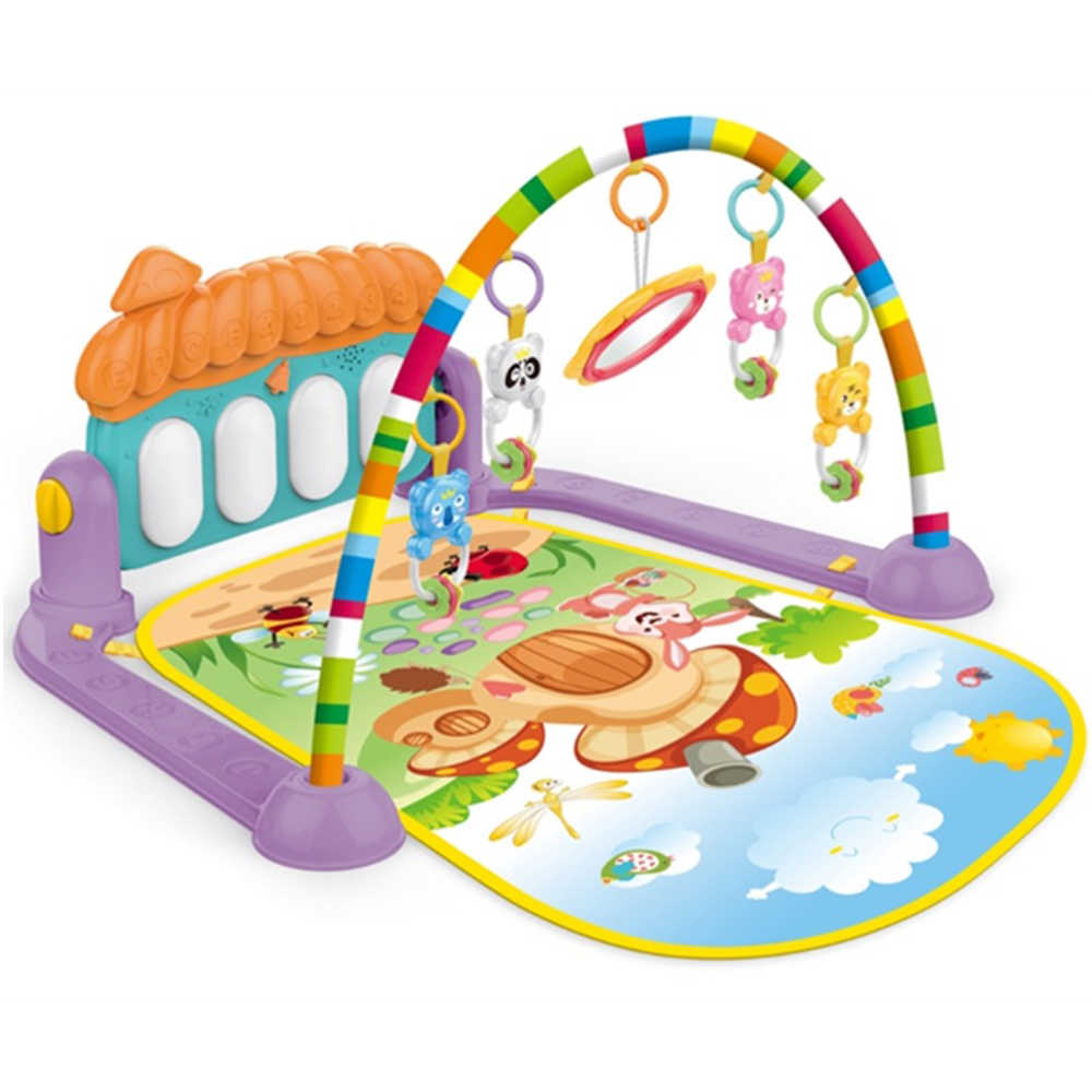 Baby Activity Gym Kick and Play Piano Mat Center With Melodies Rattle  Musical Toy Tummy Time Mat For Infant Toddler 0.