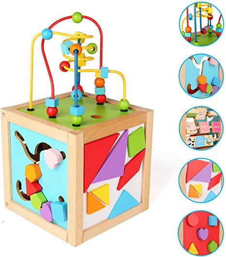 SainSmart Jr. Wooden Bead Maze Wooden Activity Blocks Cube Toy Baby Busy  Box Play Center Learning and Educational Toy for 18 Months+.