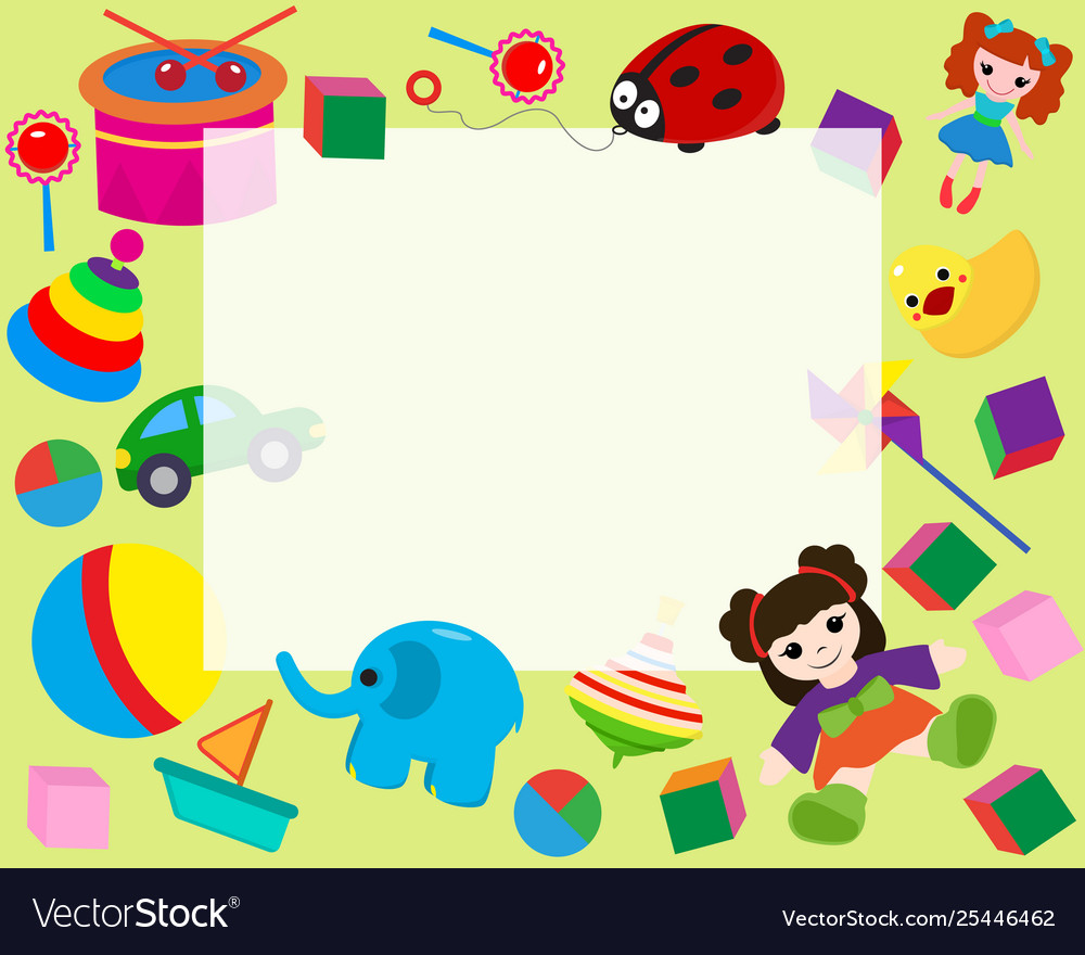 Horizontal frame border with colorful toys in vector image.