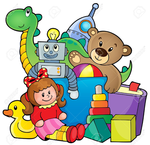 Kids Sharing Toys Clipart.