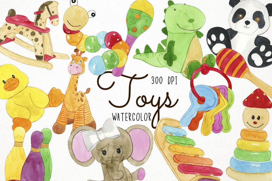Watercolor Toys Clipart, Toys Clip Art By Paulaparaula.