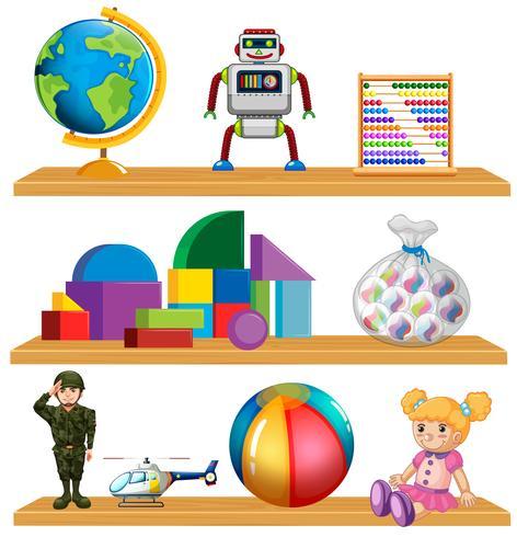 Children toys on shelf.