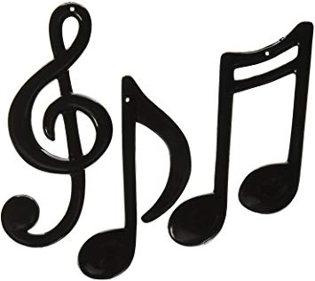 Molded Plastic Musical Notes (black) (6 Count).