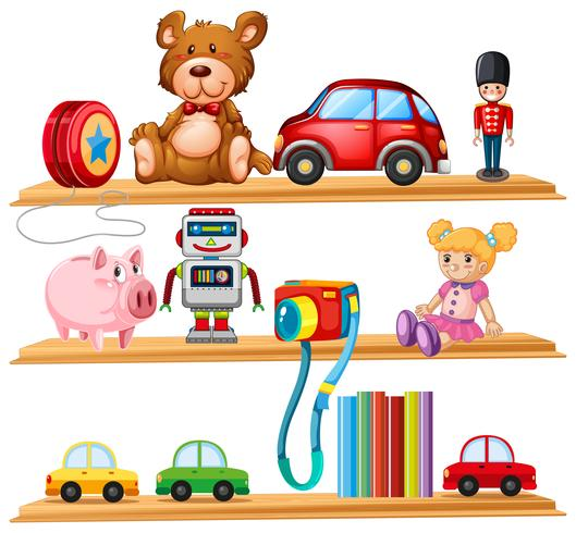 Many toys and books on wooden shelves.