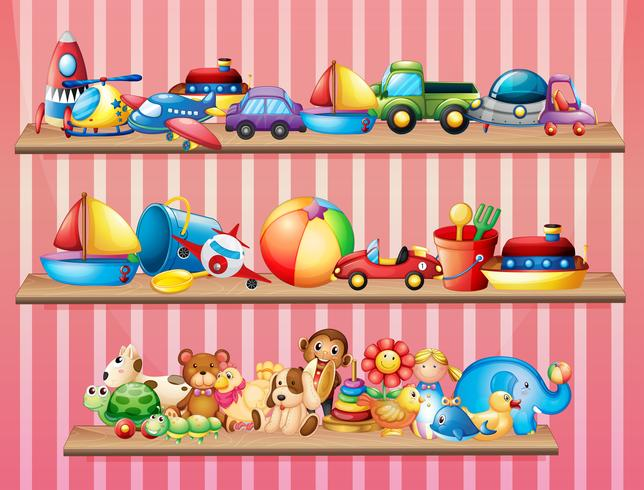 Shelves full of different toys.